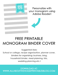 Printable Binder Cover Ways To Organize Using Binder Covers Plus A Free Printable Monogram