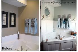 Beach Style Bathroom Decor Chic On A Shoestring Decorating Beachy Bathroom Reveal