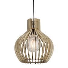 Wooden Pendant Light Fixtures Groa E27 Wood Pendant Light