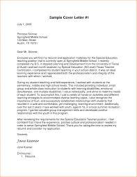 Middle Teacher Cover Letter Format Copy Pre Written Sample