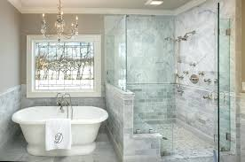12x24 tile shower bathroom traditional with chair rail chandelier glass leaded patterns