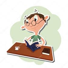 cartoon man reading a book stock vector