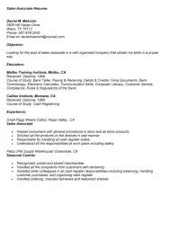 Sales Associate Job Description Resume Sales Associate Cashier