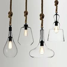 rope pendant rustic simplistic 1 light clear glass shade hemp rope hanging pendant light black rope
