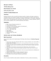 Electrical Engineering Resume Examples Impressive Electrical Resumes Samples Simple Resume Examples For Jobs