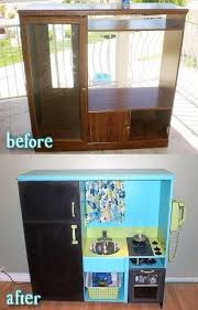 repurposed furniture for kids. Recycle Old Entertainment Center To A Kids Play Kitchen. CentersRepurposed FurnitureKids Repurposed Furniture For