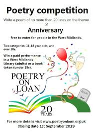 Poetry On Loan West Midlands Poetry Competition 2019
