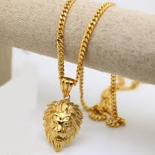 dhl 100 24k gold plated lion head pendants fashion hiphop franco long necklaces gold chain