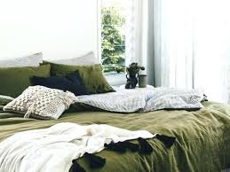 olive green duvet cover this french linen quilt set is on one side and navy ivory leaf olive by featherweight duvet cover green linen