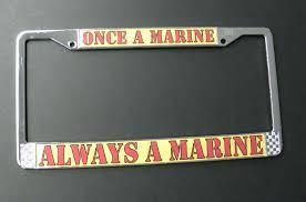 once a marine always usmc marines chrome plated license plate frame 6 x 12 inch