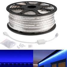 110 120 V Ac Flexible Led Strip Light Kit Blue Waterproof Ip65 Outdoor Christmas Lights Led Tape Led Light Strips Pack Of 164ft 50m