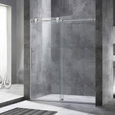 woodbridge frameless sliding shower door 56 60 width 76 height
