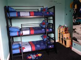 Favored Small Space Boys Bedroom Decors With Black Metal Triple Bunk Bed  Finished With Stair Also Open Wood Shelf In Green Bedroom Ideas
