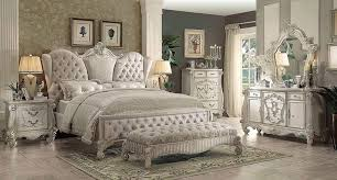 Ivory Velvet White Bone Sleigh Bed AC Chatueau | Traditional Bedroom