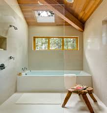 bathrooms simple bathroom with cornered bathroom tub and shower space also rustic seat simple bathroom