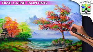 learn how to paint basic acrylic landscape with beach autumn trees easy art tutorial beginners