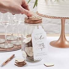 Ginger Ray Wishing Jar Wooden Hearts Alternative Wedding Guest