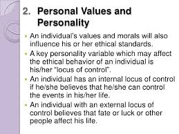 factors influencing ethical behaviors personal values and morals