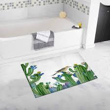 cadecor desert with cactus and wild small bird fl summer gift card with watercolor bird bath rug bathroom mat doormat 30x18 inches com