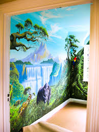 Painting The Bedroom Jungle Mural In Girls Room Sacredart Murals