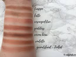 makeup geek collection review swatches emilyloula frappe latte cosmopolitan dess cocoa bear roulette grandstand swatch