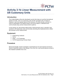 Activity 3 1b Linear Measurement With Us Customary