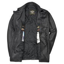 vintage leather naval officers coat in black
