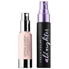 ud urban lockdown travel duo set all nighter makeup setting spray optical illusion primer