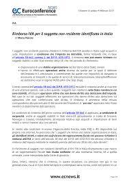 Rimborso IVA per il soggetto non residente identificato in Italia