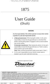 NAH1501 <b>5 Buttons</b> FSK <b>Remote</b> User Manual DEI Headquarters, .