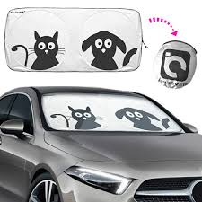 Windshield Sun Shades With Designs Ic Iclover Car Windshield Sun Shade With Pet Design Cute Cartoon Design Car Front Window Sunshade Folding Sun Visor With Free Storage Bag Blocks
