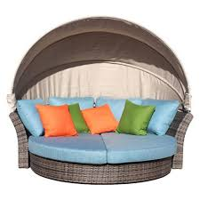 Eclipse Outdoor Expandable Oval Daybed With Canopy - Taupe ...