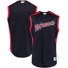 National League 2019 red Jersey Youth All-star Mlb Navy Workout Team Majestic