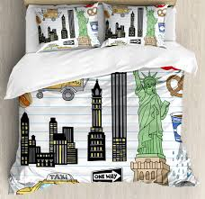 doodle duvet cover set new york city manhattan statue of liberty the big apple hot dog stand sketch style decorative bedding set with pillow shams