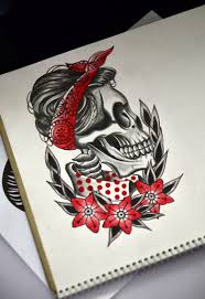 Skull Girl Tattoo Sketch нью олд скул неотрадишинл тату