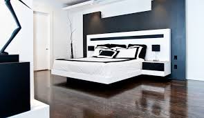 ... Black and white bedroom floating bed