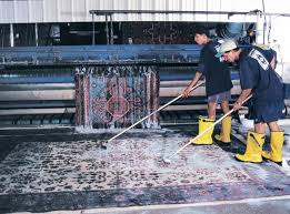oriental rug being washed