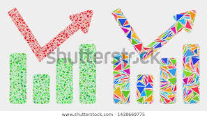 Graph Chart Collage Icon Triangle Elements Stock Vector
