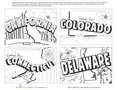 d284c8aedfe5d476e39d576d4b77ce42 united states postcards 12 coloring, student centered resources on states worksheets