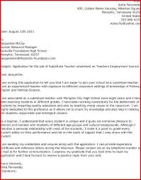 Letter To Substitute Teacher Template Cover Letter For Substitute Teacher Template Instruction