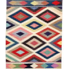 aztec multi coloured dhurrie rug