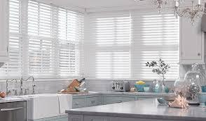 white wood blinds kitchen