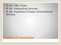 Table Of Contents Chart Table Of Contents P 44 Kwl Chart P 45 Integrating