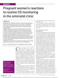 Carbon Monoxide Chart Levels Pdf Pregnant Womens Reactions To Co Monitoring In The