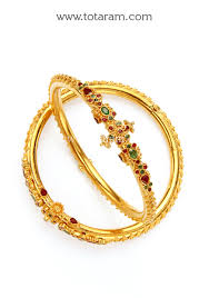 22k gold kada with ruby emerald set of 2 1 pair