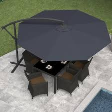 Ft Patio Umbrella Aluminum Crank Tilt Deck Sunshade Cover Wood