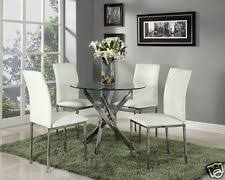 gl round dining table set and 4 white chairs faux leather modern chrome legs