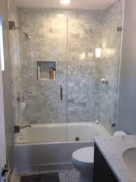 Bathroom Rectangle White Bathtub In Glass Shower Stalls With - Glass tile bathrooms