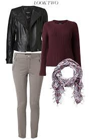 victoria biker leather jacket 2 ine bell sleeve pullover 3 kelsie scarf 4 belle skinny top stitch pant