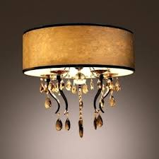 white drum shade romantic white flannel drum shade flush mount light chandelier accented by amber crystals white drum shade